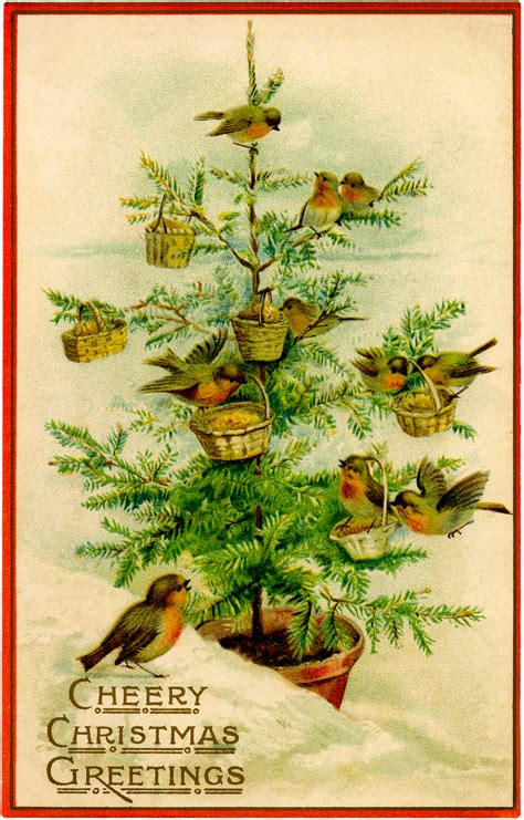 vintage birds christmas tree image charming