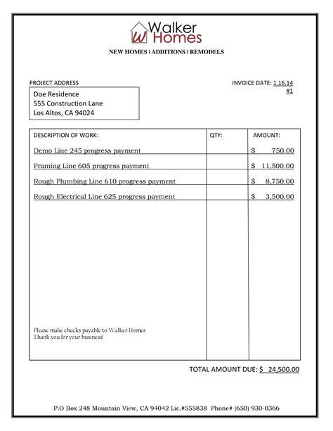 cost to remodel a bathroom sle bid billing walker homes