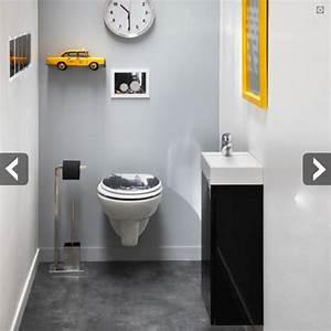 amenagement wc peinture grise pour agrandir l39espace With idee couleur peinture toilette