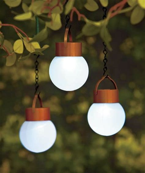 set of 3 hanging solar led lights porch patio deck outdoor