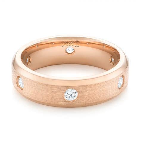 custom rose gold diamond men s wedding band 102874