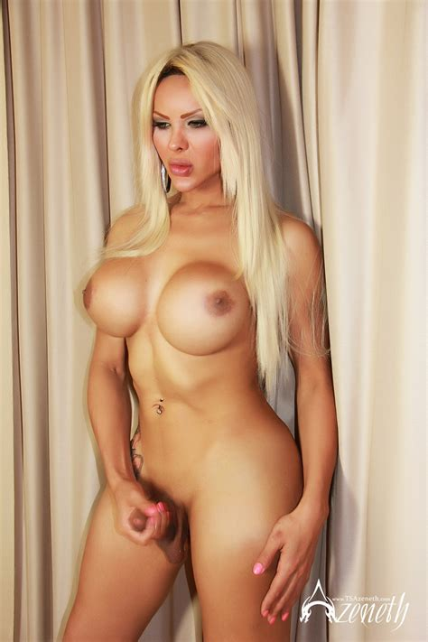 Busty Blonde Shemale Teases With Her Huge Cock