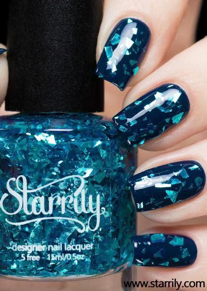 starrily sea glass blue teal flake glitter nail polish