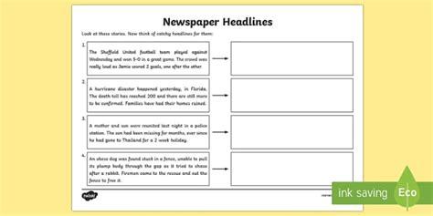 newspaper headline writing worksheet higher ability