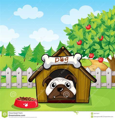 dog   dog house stock vector image  green
