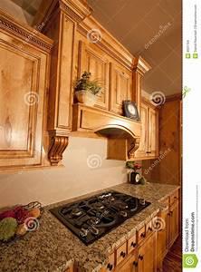 Modern Home Kitchen Cabinets Range Hood Stock Photo