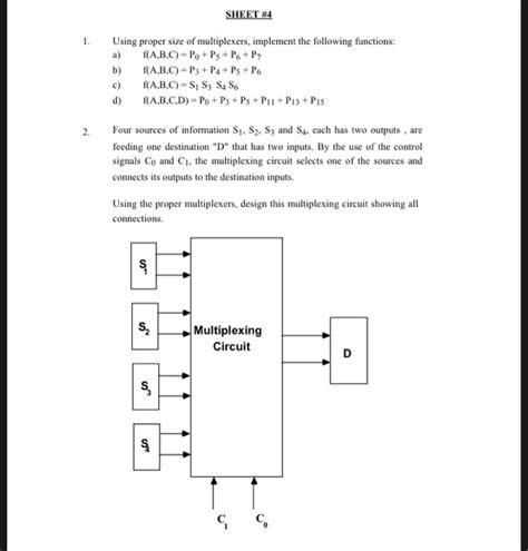 Solved Sheet Using Proper Size Multiplexers Imp