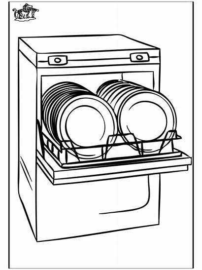 Dishwasher Clipart Drawing Pages Colouring Coloring Sketch