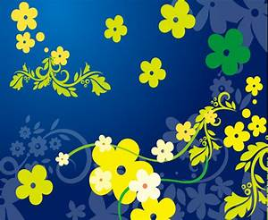 Yellow flowers in blue background Free vector in Adobe ...
