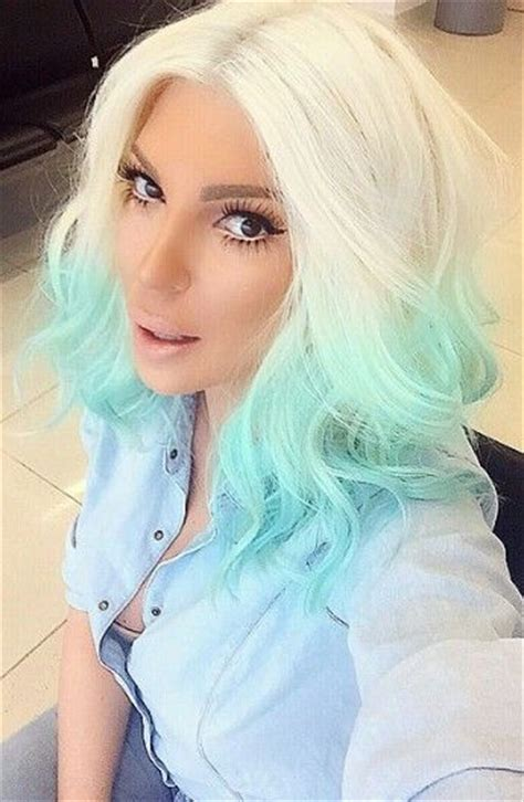 Karleusastar Blonde And Turquoise Blue Ombre Dyed Hair In