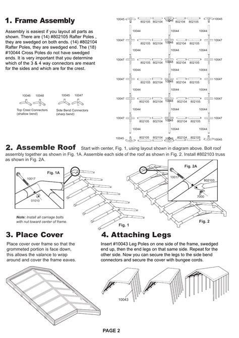 frame assembly  attaching legs  place cover assemble roof page  shelterlogic