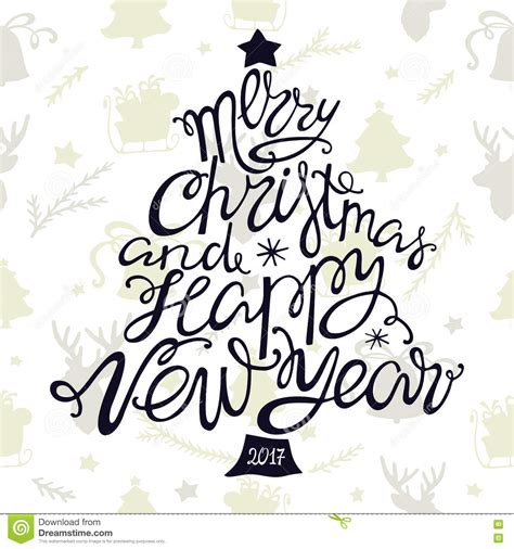 merry christmas  happy  year handdrawn lettering