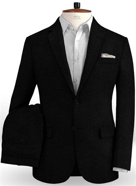 Pure Black Linen Suit Makeyourownjeans Made Measure
