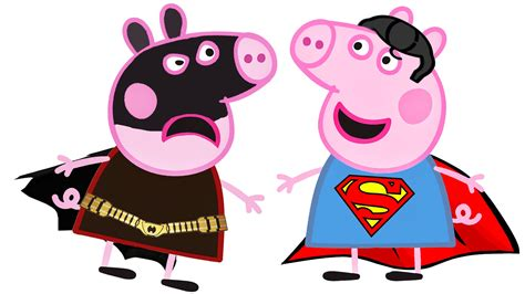 superman peppa pig and batman clipart building