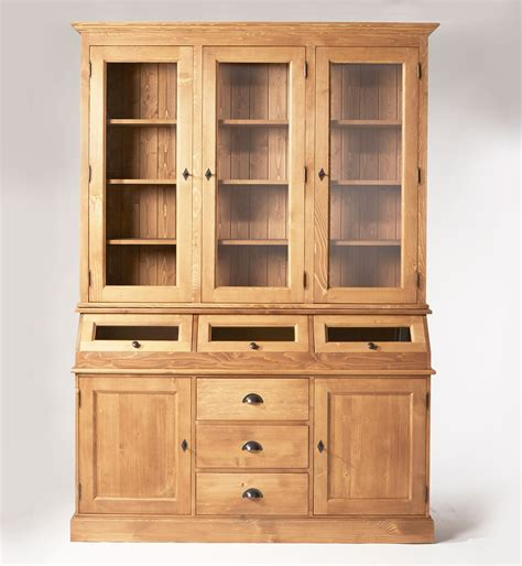 meuble vaisselier cuisine vaisselier ciré miel 5 portes 3 trappes vitrées made in