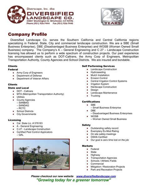 company profile diversified landscape co