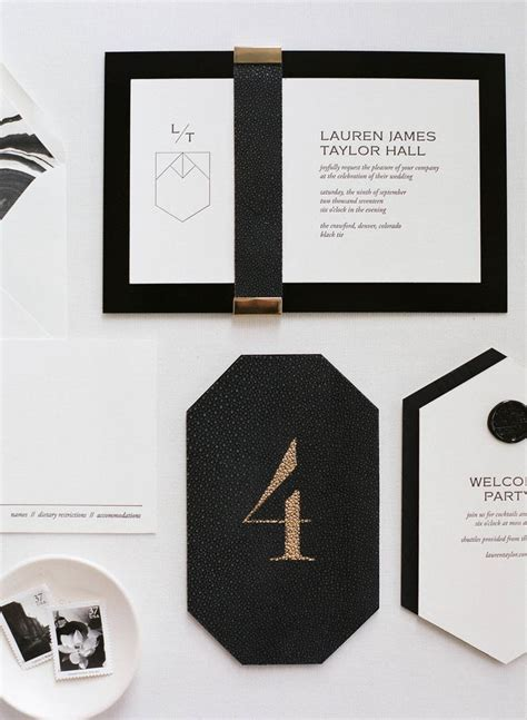 Classic black and gold wedding invitation suite elements