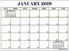 2019 January Calendar Printable Printable Letter