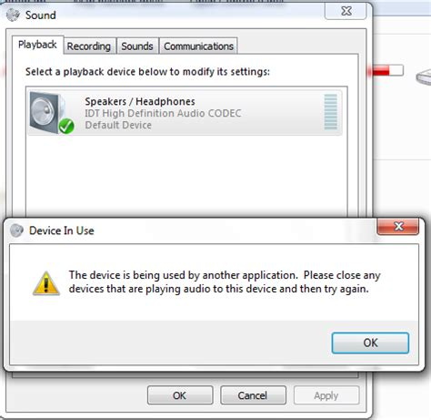quot device in use quot no sound from speakers windows 7 help forums