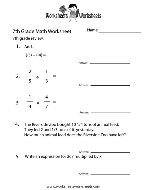 seventh grade math practice worksheet  printable