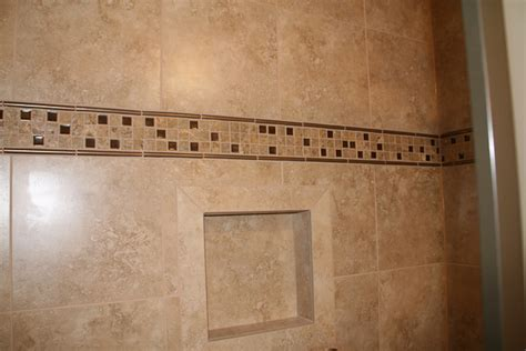 traditional master bathroom ideas custom tile accent band