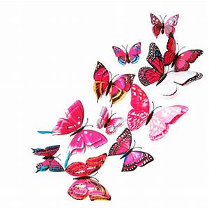Pcs d double layer feather butterfly sticker with hooks