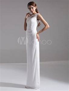 beautiful white chiffon lace jewel neck floor length With robe blanche fourreau