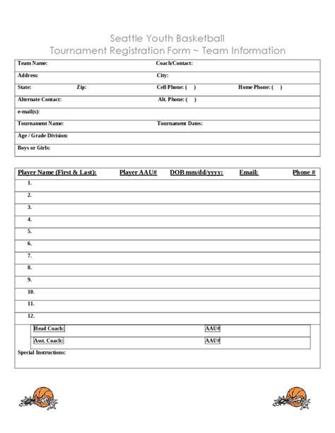Tournament Application Form Template basketball tournament registration form template