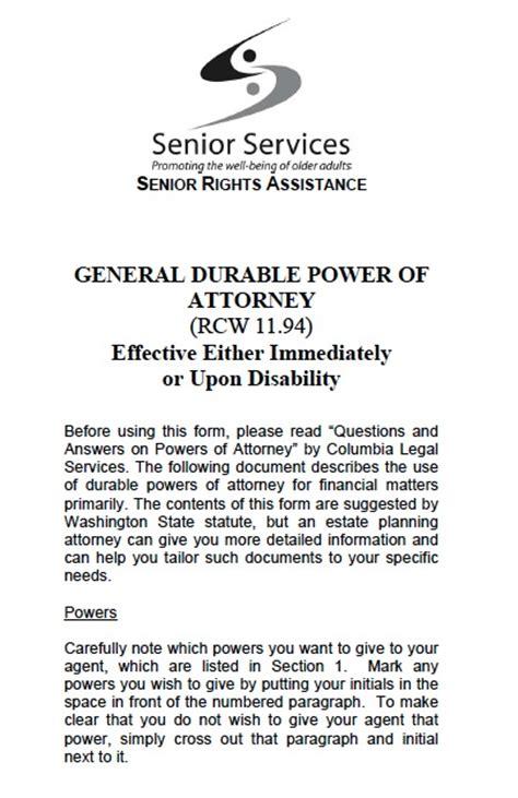 washington state power  attorney forms  templates