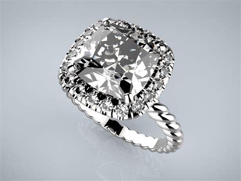 engagement ring 19mm cushion cut 9mm twist 3d 3d printable stl 3dm cgtrader com