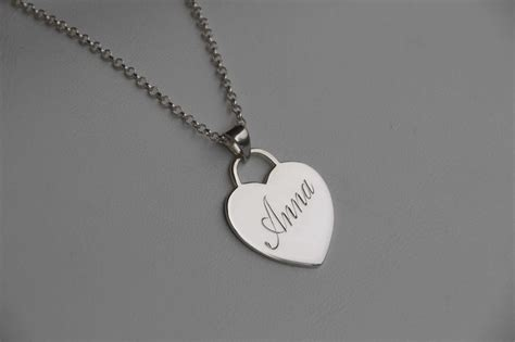 hand engraved sterling silver  solid gold heart pendant monogram initial necklace sarah