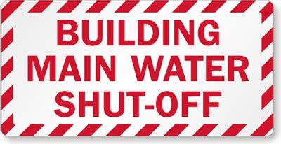 Emergency Label  Building Main Water Shutoff Label, Sku