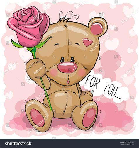 greeting card cute cartoon teddy bear stock vector