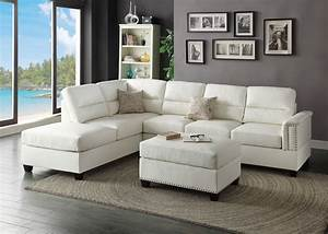 f7610 white 2 pcs sectional sofa by poundex With 2 pcs sectional sofa by poundex