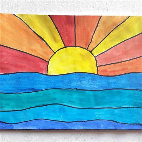 kalte und warme farben quot kalte und warme farben quot farbtheorie in der grundschule mit dem bild quot sonnenuntergang 252 ber dem