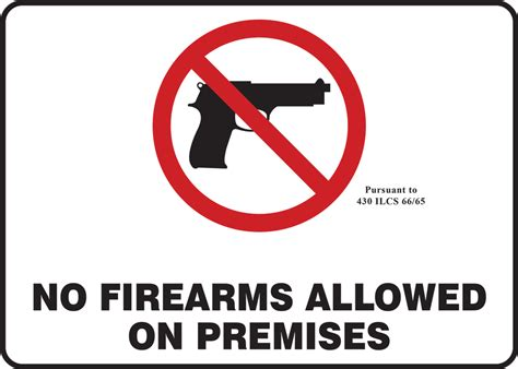 No Firearms Allowed On Premises Safety Sign Macc552