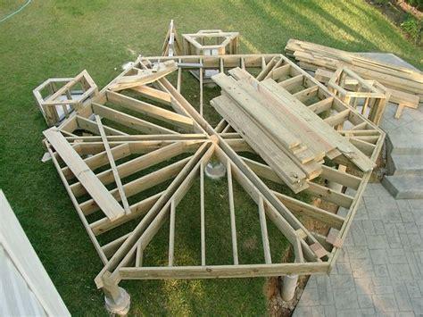 hexagon deck gazebo  deck deck construction diy gazebo