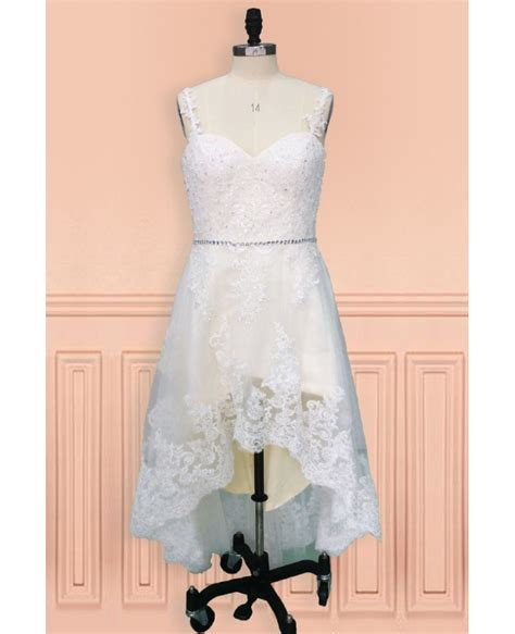 Country Chic High Low Lace Short Wedding Dress With Straps