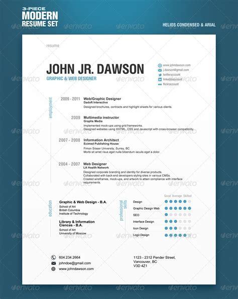 Modern Resumes by 3 Modern Resume Set By Mikekondrat Graphicriver
