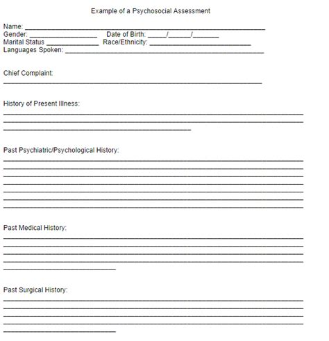 psychosocial assessment template  word templates