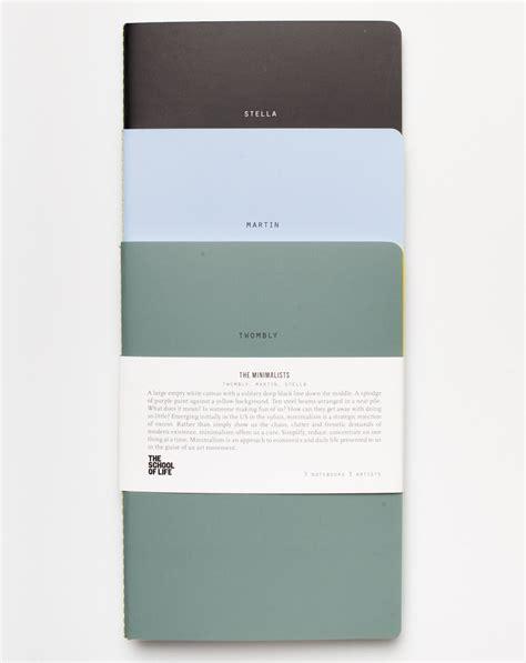 school  life set   minimalist notebooks