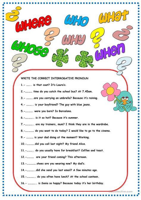 interrogative pronouns worksheets for grade 3 worksheet