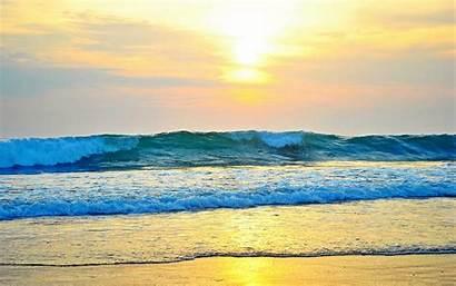Waves Beach Wave Sunset Nature