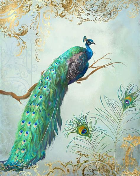 peacock on tree branch painting regal peacock 1 on tree
