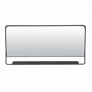 Miroir Cadre Noir : miroir salle de bain horizontal avec cadre m tal noir et tablette ~ Teatrodelosmanantiales.com Idées de Décoration