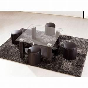 Table Basse 4 Poufs : table basse et 4 poufs electro discount ~ Teatrodelosmanantiales.com Idées de Décoration