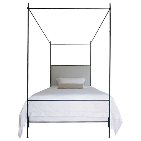 Louis XVI Style Iron Upholstered Canopy Bed - Queen Size