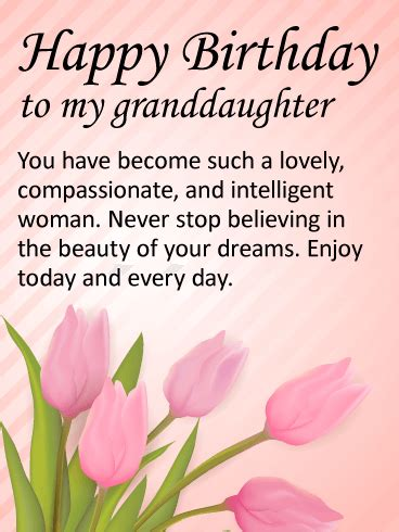 lovely granddaughter happy birthday wishes card