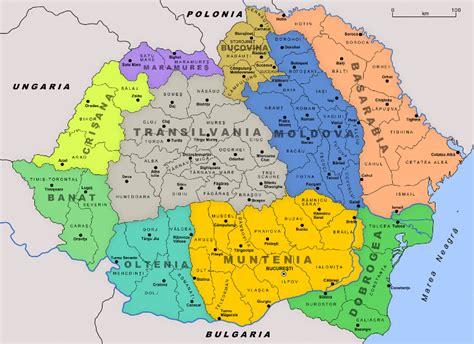 România, țară harta - Hartă România și în țările din jur (Europa de Est - Europa)