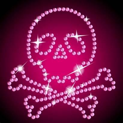 Glitter Skull Pink Graphics Skulls Backgrounds Skeleton